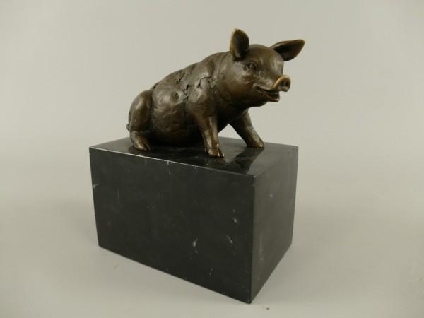 Figur Bronze Schwein H.16x13cm