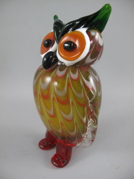 Glasfigur Murano styl Uhu farbe H.20x10cm