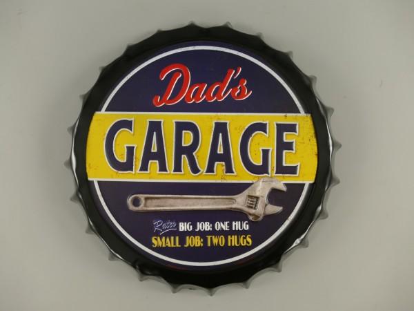 Wandschild(Gestanzt) Eisen Dad's Garage D.35x4cm
