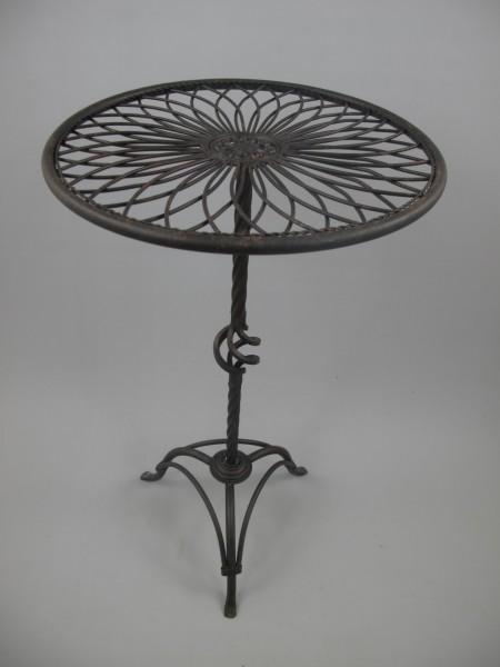 Tisch rund Antik SCHWARZ Eisen H.70-D.40cm