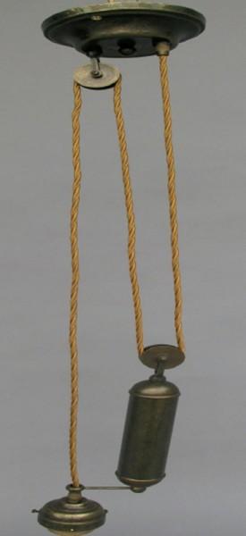 Zuglampe Messing brüniert(läng)o.Schirm H.80/125cm