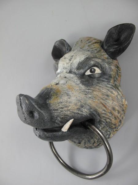 Wildschwein Gußeisen farbig H.24x14cm