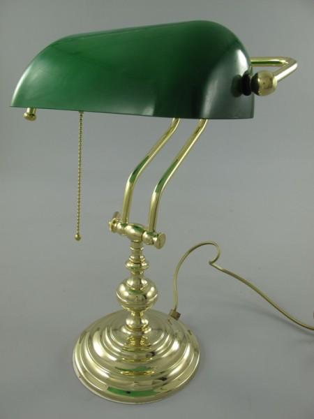 Bankerslampe Messing Glas grün H.45x26cm