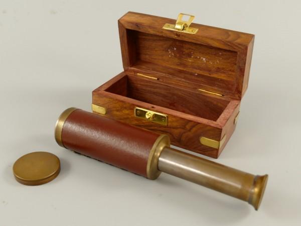 Fernrohr Messing brüniert Leder Holzbox L.10/17cm