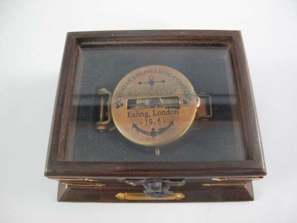 Kompaß Messing brüniert im Box L.12x5cm