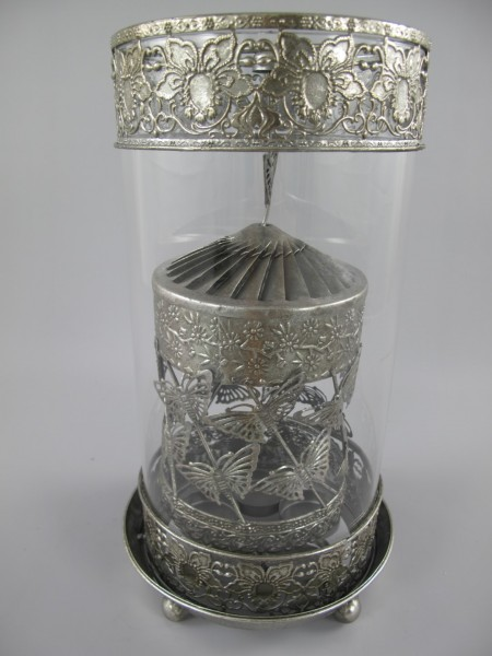 (*)Laterne SPINNING Eisen/Silber D.18x34cm