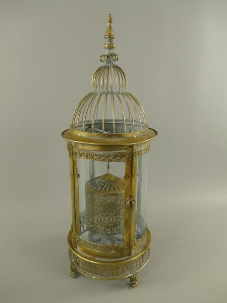 (*)Laterne SPINNING Eisen/Gold Farbe H.66x25cm