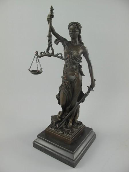 Figur Bronze JUSTITIA Marmor sokkel H.35x13x13cm