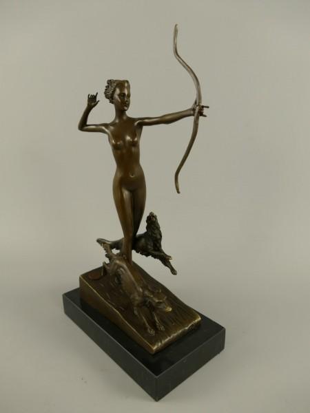 Figur Bronze Frau mit Hunden H.34x18cm