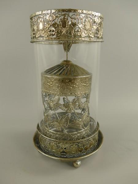 (*)Laterne SPINNING Eisen/Silber Farbe D.18x33cm