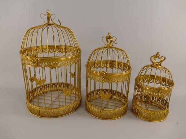 Käfig(Rund) Eisen Gold farbig Set/3 H.45/34/25cm