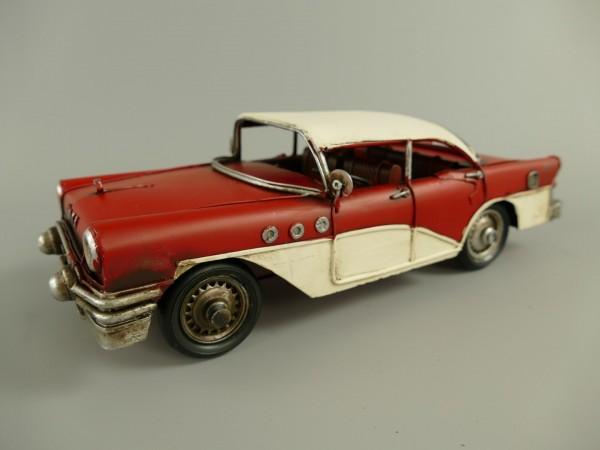 Auto rot/weiss Antik Eisen L.29x9x11cm
