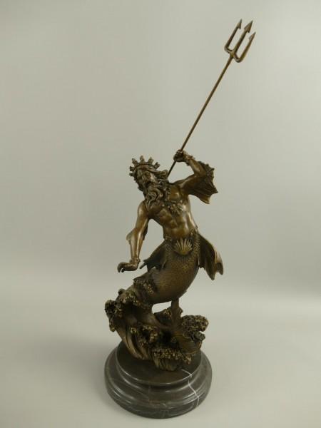 Bronze Figur Neptun/Poseidon H.44x16cm