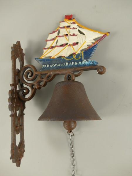 *NT Wandglocke Gußeisen Segelschiff H.40cm P/St.