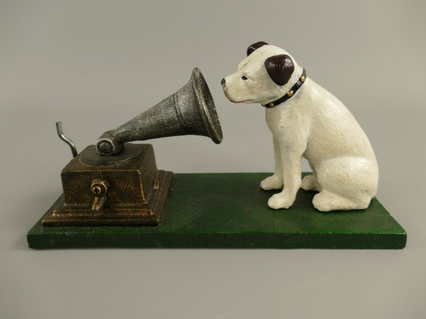Hund Grammophon Eisen L.22x12cm