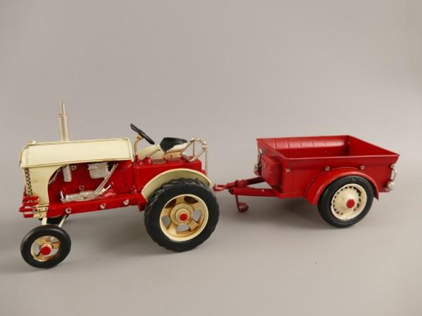 Traktor mit anhänger Antik Eisen L.32x12cm