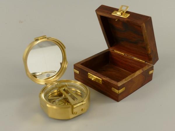 Peilkompass Messing Holzbox Kompass D.8cm