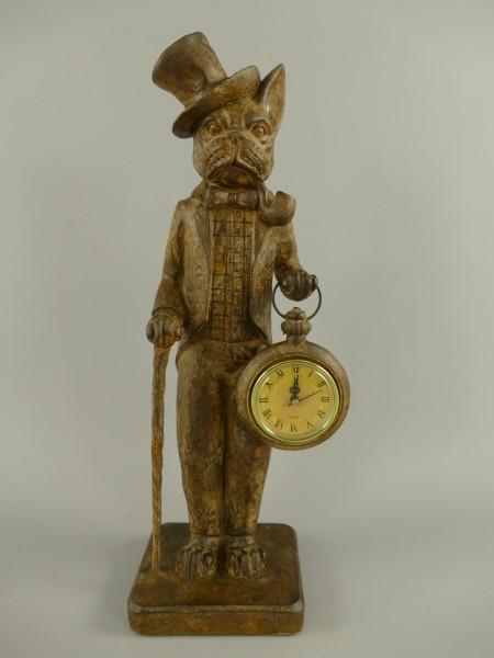 Hund Uhr Polystein farbe H.44x17cm