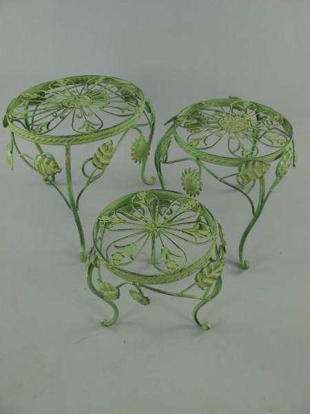 Tisch Eisen Rust. grün Set/3 H.23/28/32-D.22-36cm