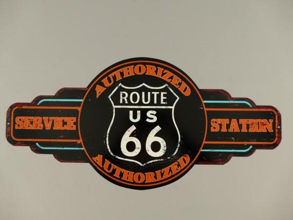 Wandschild(Gestanzt) Eisen Route 66 L.60x28cm