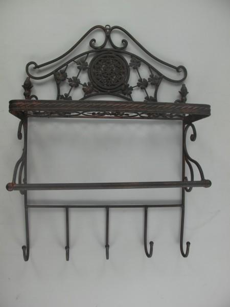 Regal mit Haken Eisen Rust. braun H.58x40x16cm