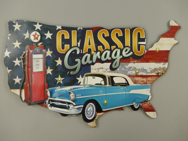 Wandschild(Gestanzt) Eisen Classic Garage L.50cm