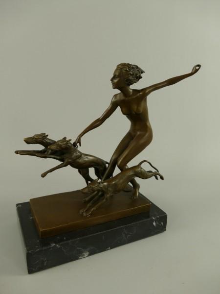 Figur Bronze Frau mit Hunden H.23x20cm