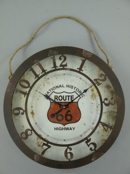 Wanduhr Route 66(Batterie) Eisen D.50cm