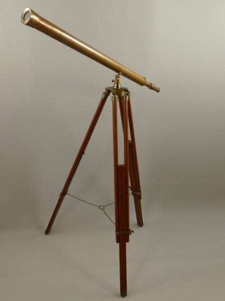 Fernrohr Messing brüniert Holz Stativ H.105cm