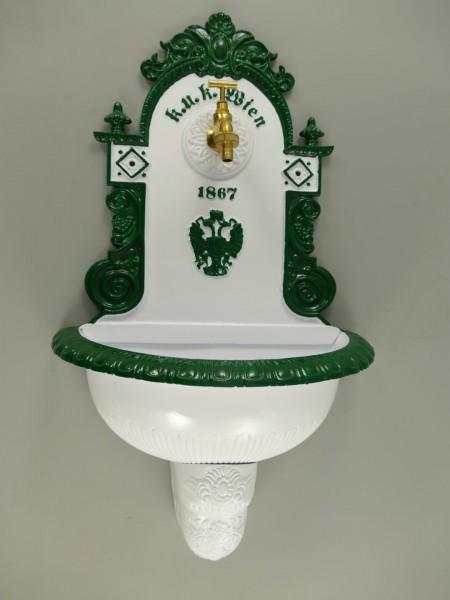 Wandbrunnen 1867 Alu Guß weiß/grün H.72cm